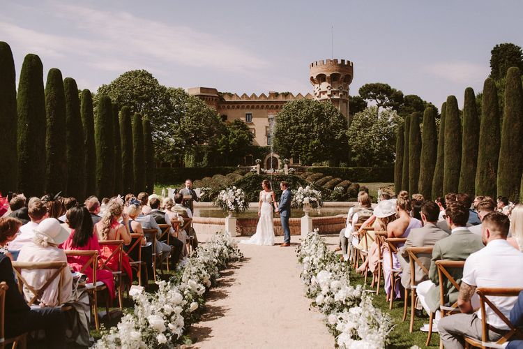 Amazing outdoor ceremony in the grounds of the Spanish castle venue