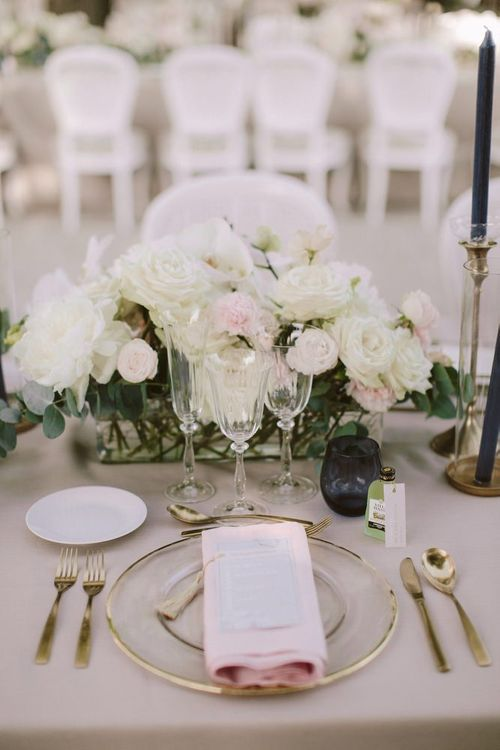 Blush and white wedding flowers for table