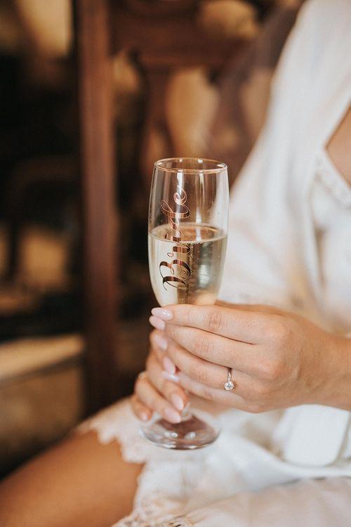 Personalised champagne flute for Washingborough Hall wedding