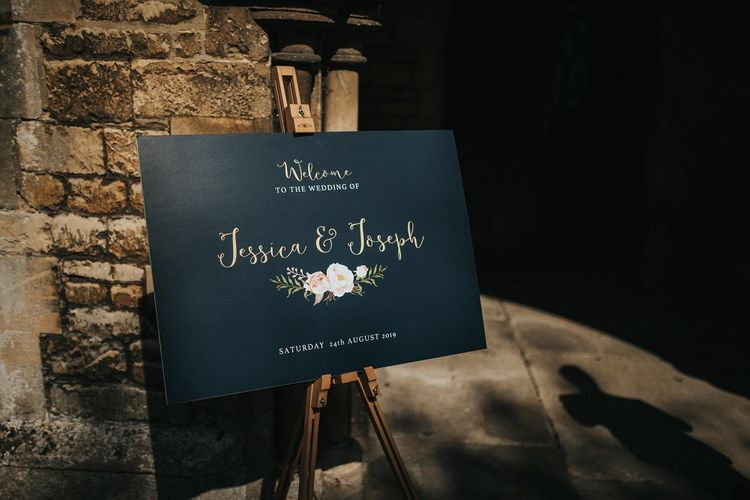 Welcome wedding sign at Washingborough Hall
