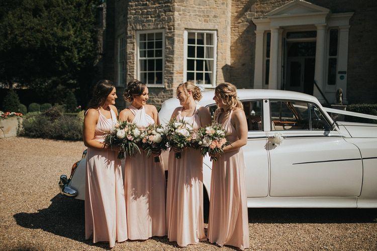 Pink multiway bridesmaid dresses at Washingborough Hall