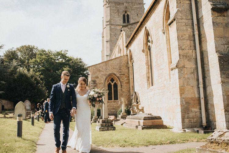 Church wedding ceremony before Washingborough Hall reception