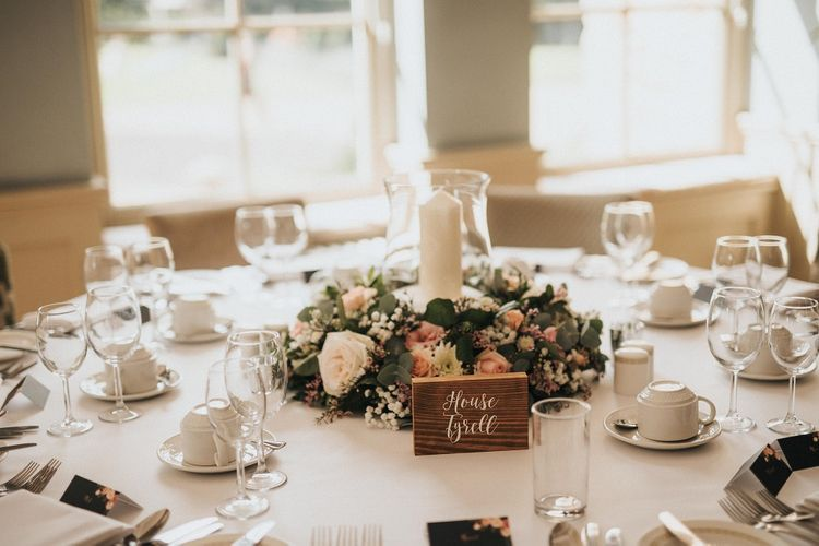 Wedding table decor at Washingborough Hall