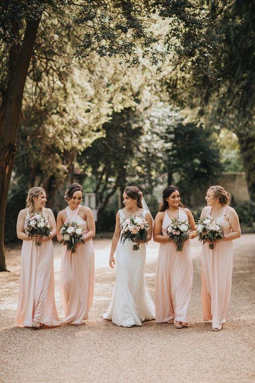 Pink bridesmaid dresses for Washingborough Hall wedding