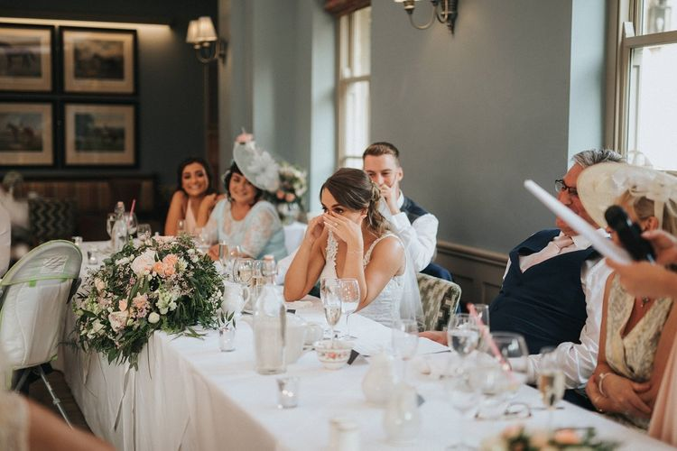 Bride gets emotional at wedding speeches