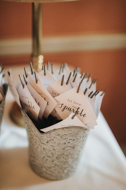 Sparklers for guests at Washingborough Hall wedding