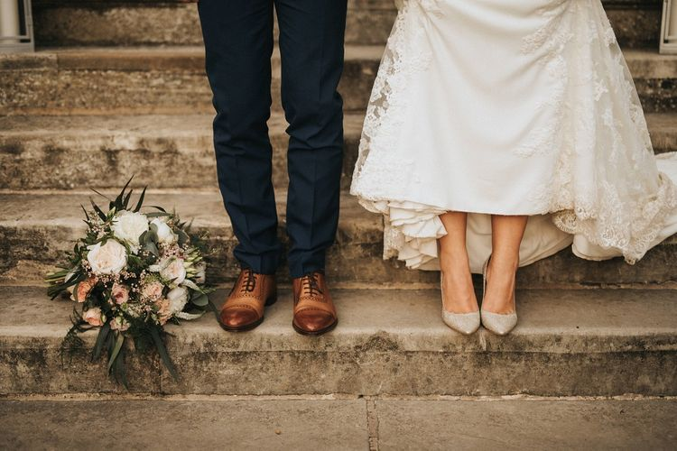 Sparkling wedding shoes for bride and brown brogues for groom