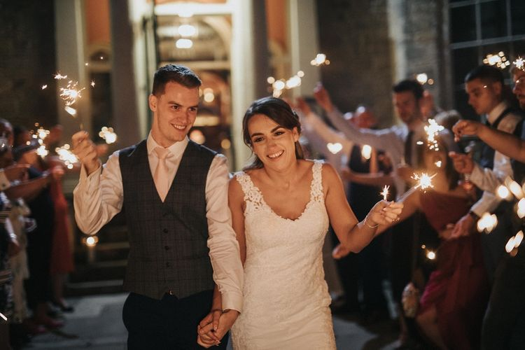 Sparkler exit for bride and groom at  Washingborough Hall