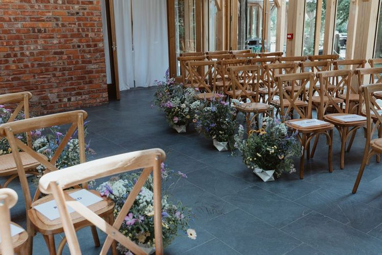 Wild Flowers Lining The Aisle At The Oak Tree Of Peover Wedding Venue
