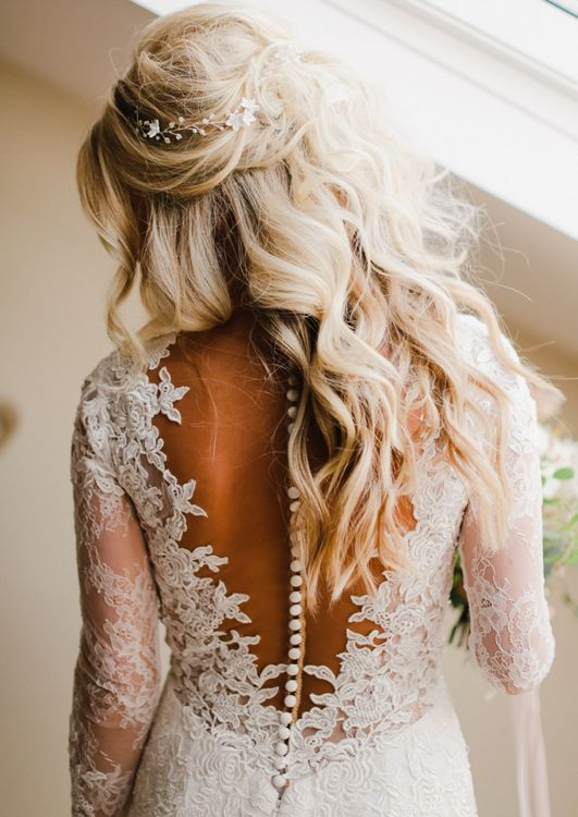 Bride in Lace Illusion Back with Button Detail by Nicole Spose