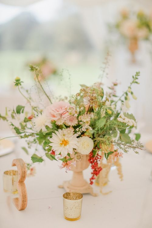 Pink, Cream and Foliage Floral Centrepiece