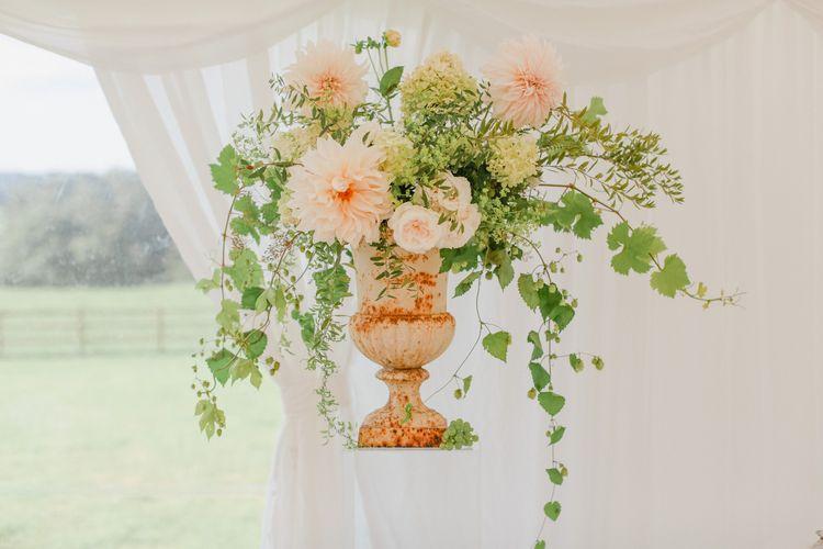 Pink, Cream and Foliage Wedding Flower Arrangement