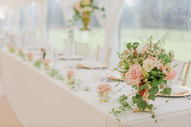 Pink, Cream and Foliage Top Table Wedding Flower Arrangement