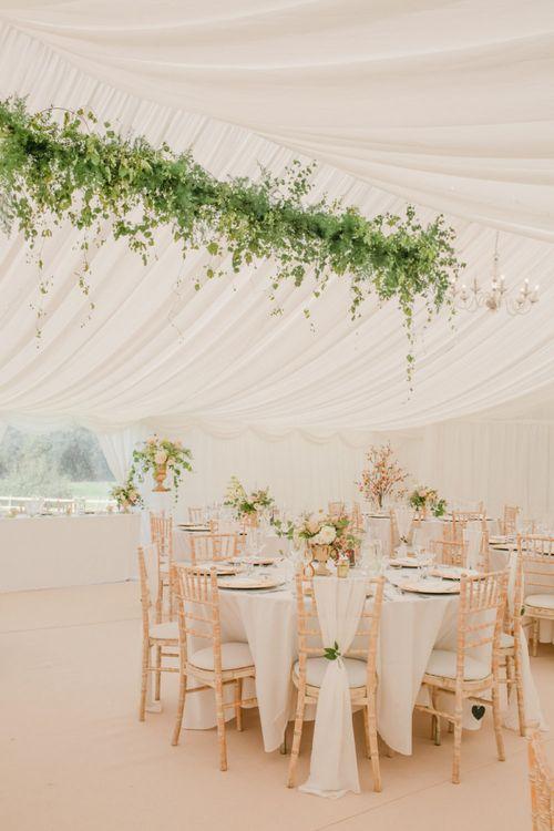 Greenery Installation Over the Wedding Breakfast Table