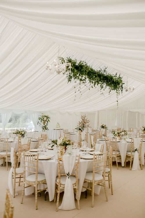 Marquee Reception with Greenery Installation, Plus Pink and Cream Wedding Flowers