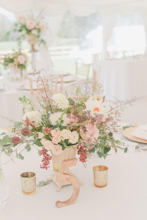 Romantic White, Cream and Pink Wedding Flower Centrepiece
