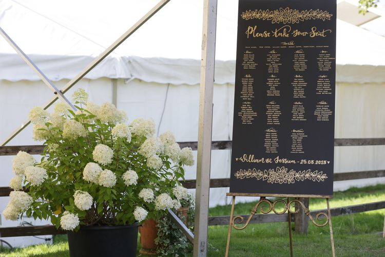 Giant Chalkboard Seating Chart and Hydrangea Plant Wedding Decor