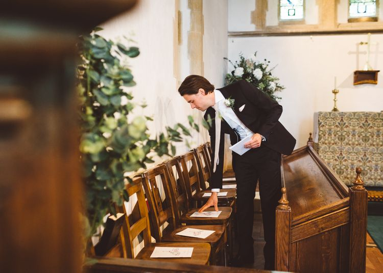 Order Of Service For Church Wedding Ceremony // Valeria By Pronovias Bridal For Elegant At Home Wedding With Clear Marquee And White Florals And Images From Holly Carlin Photography