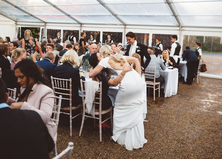 Clear Marquee For Garden Wedding // Valeria By Pronovias Bridal For Elegant At Home Wedding With Clear Marquee And White Florals And Images From Holly Carlin Photography