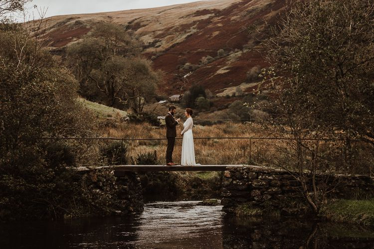 Intimate vow exchange at Snowdonia wedding