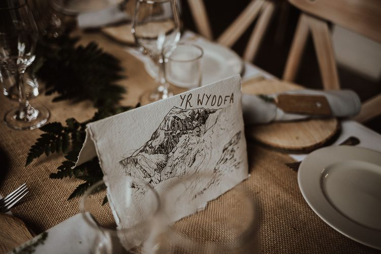 Rustic wedding table decorations at Snowdonia wedding