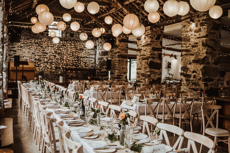 Cosy Autumnal wedding with fairy light backdrop