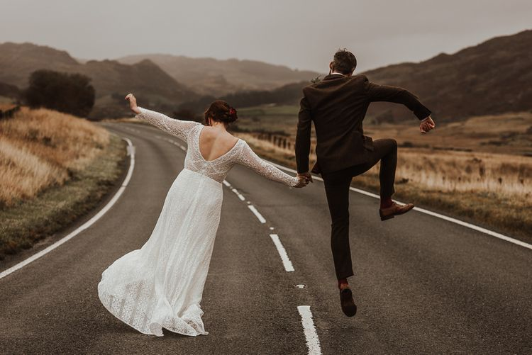 Bride and groom celebrate amongst the stunning scenery