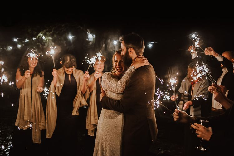 Sparkler exit for bride and groom