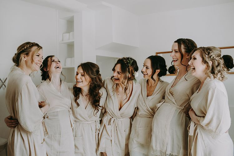 Wedding Morning Bridal Preparations with Bridal Party in Getting Ready Robes