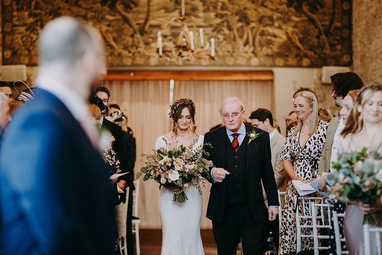 Wedding Ceremony Father of the Bride and Bride in Pronovias Dralan Wedding Dress Entrance