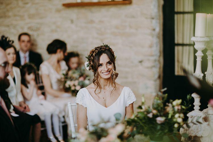 Beautiful Bride with Braided Updo in Pronovias Dralan Wedding Dress