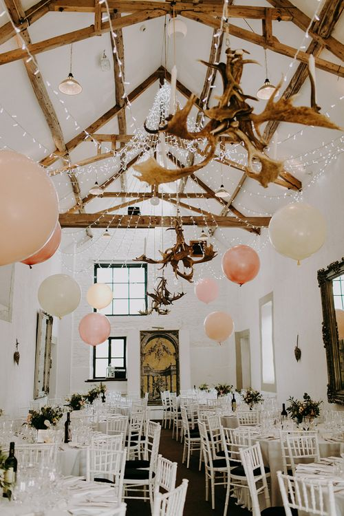 Merriscourt Cotswold Wedding Venue Decorated with Giant Balloons and Fairy Lights