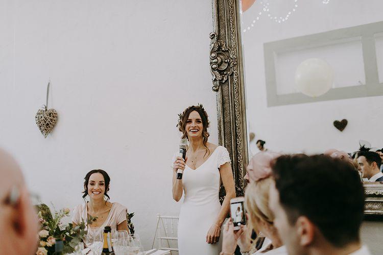 Brides Speech in Pronovias Dralan Wedding Dress