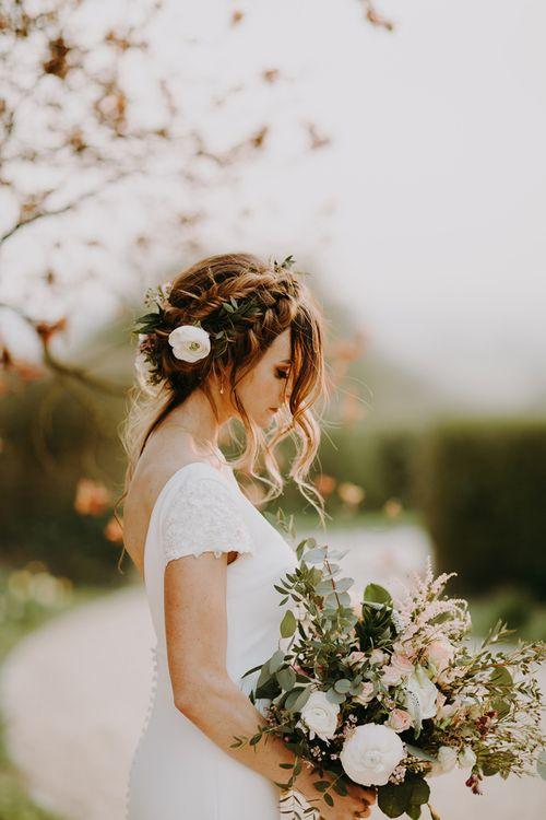 Romantic Bridal Braid Updo and Bride in Pronovias Dralan Wedding