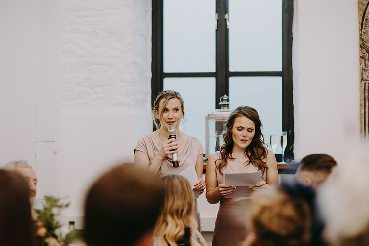 Bridesmaids Speeches in Pink Ghost Dresses