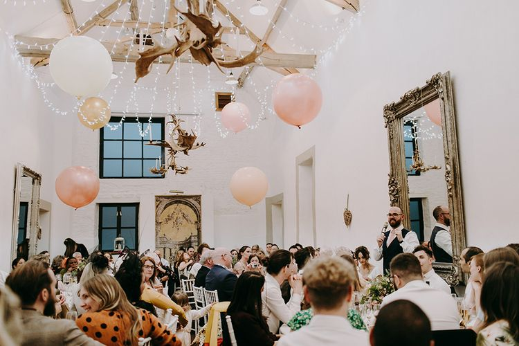 Barn Wedding Reception at Merriscourt Cotswold Wedding Venue with Balloons and Fairy Lights