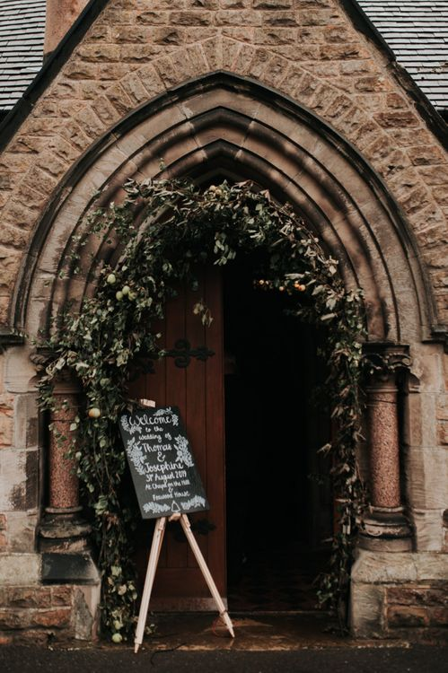 Ceremony Entrance With Chalkboard Wedding Signs