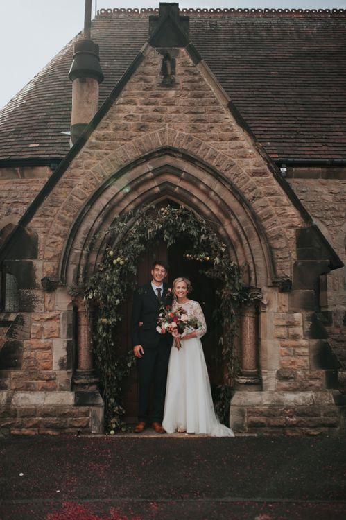 Bride and Groom Ceremony with Pom Pom Dahlias and Chalkboard Wedding Signs