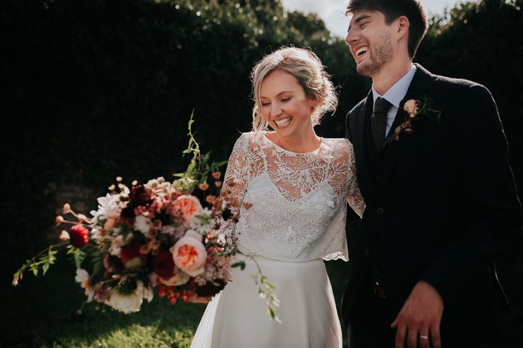 Homegrown Late Summer Wedding Bouquet and Bride in Two Piece Wedding Gown