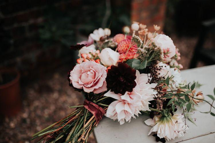 Pom Pom Dahlia and Cosmos Wedding Flowers
