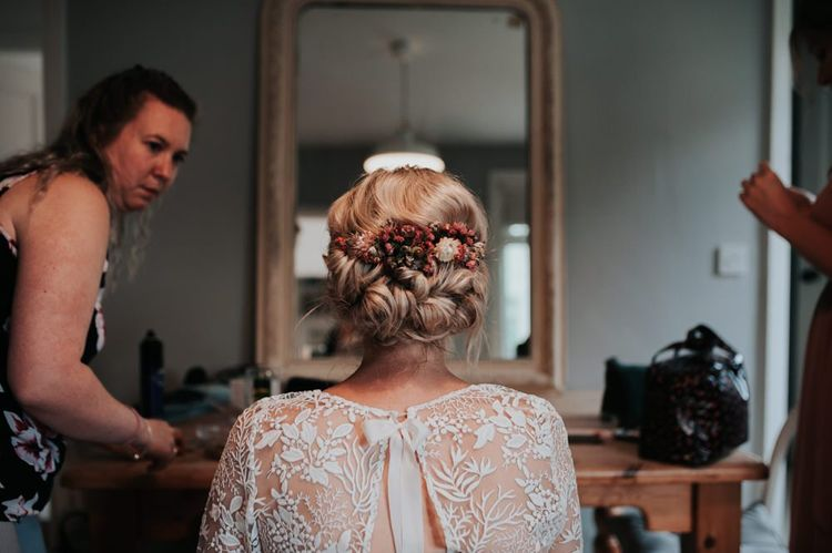 Bridal Hair Styled With Homegrown Wedding Flowers