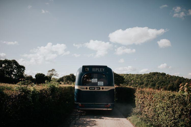 Blue Vintage Wedding Bus to Outdoor Summer Wedding