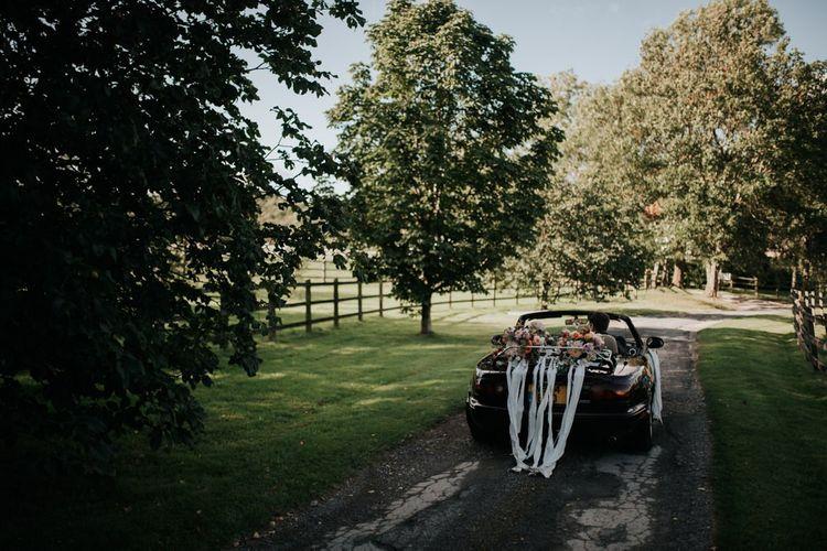 Wedding Car with Dahlia Flower Arrangement
