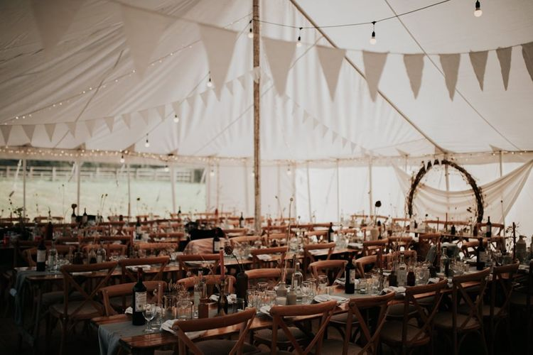 Late Summer Marquee Wedding with Homemade Buntin Decorations