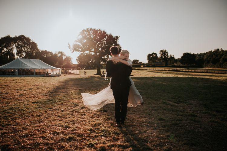 Bride and Groom at Marquee Wedding Reception