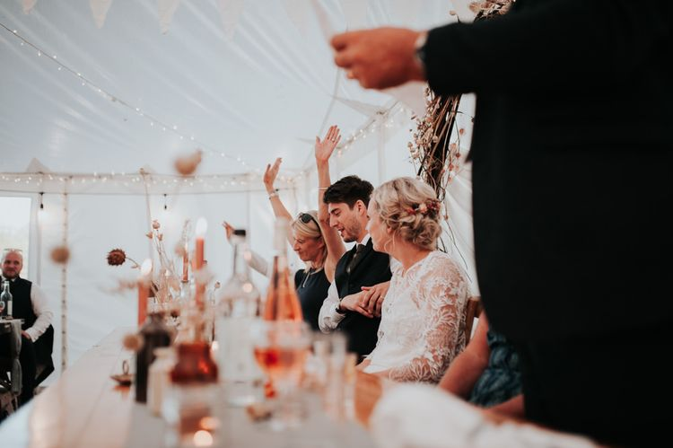 Marquee Wedding Reception with Locally Sourced Suppliers and Handmade Decorations