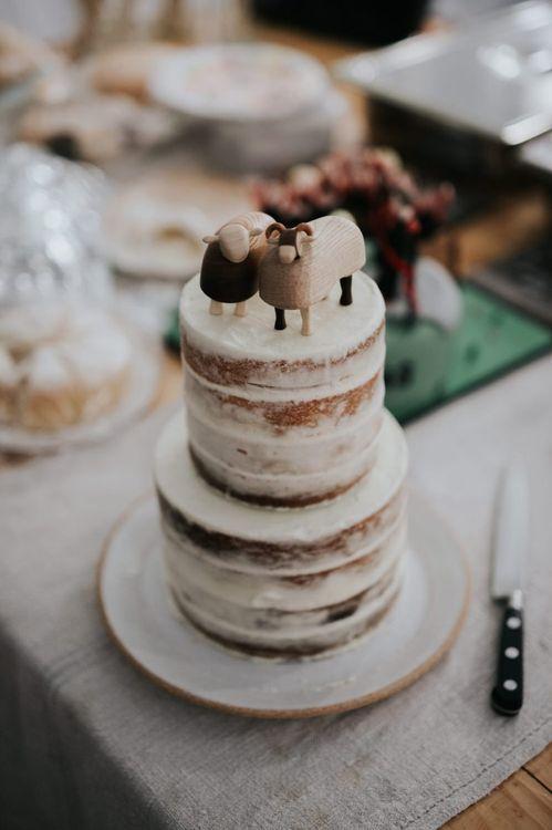 Semi Naked Wedding Cake with Handmade Wooden Cake Topper