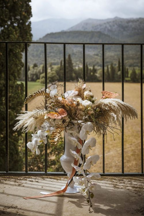 Boho Wedding Flowers with Pampas Grass, Orchids and Anthuriums