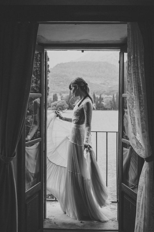 Bride in Lace Wedding Dress and Separate Tulle Skirt