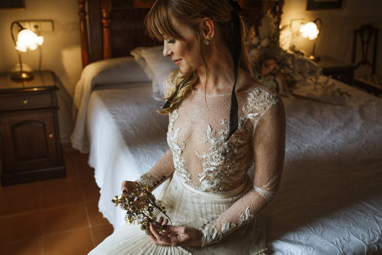 Illusion Wedding Dress with Lace and Beading Detail